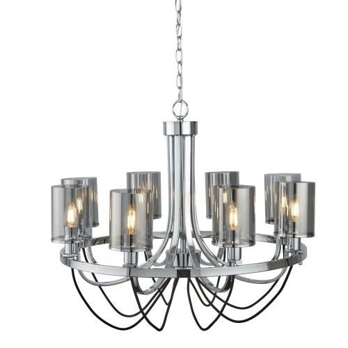 Catalina 8 Light Ceiling, Chrome, Black Braided Cable, Smoked Glass Shades 9048-8Cc